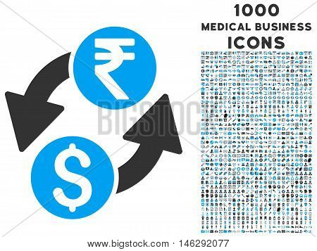 Dollar Rupee Exchange glyph bicolor icon with 1000 medical business icons. Set style is flat pictograms blue and gray colors white background.