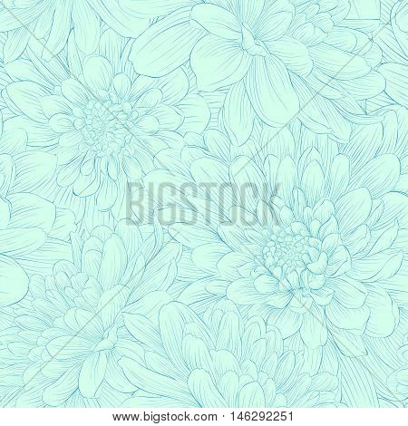Beautiful seamless pattern with blue dahlia flowers. Hand-drawn contour and strokes.