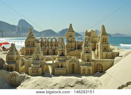 RIO DE JANEIROBR - CIRCA AUGUST 2011 - Sand castle on Copacabana beach