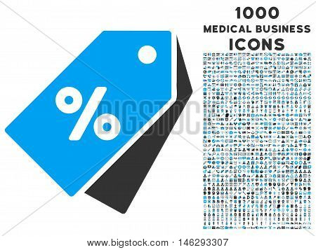 Percent Discount Tags glyph bicolor icon with 1000 medical business icons. Set style is flat pictograms blue and gray colors white background.