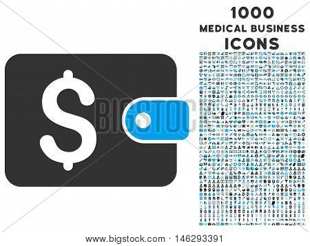 Purse glyph bicolor icon with 1000 medical business icons. Set style is flat pictograms blue and gray colors white background.