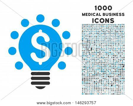 Business Patent Bulb vector bicolor icon with 1000 medical business icons. Set style is flat pictograms blue and gray colors white background.