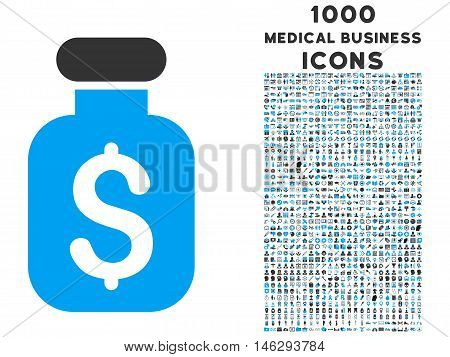 Business Remedy vector bicolor icon with 1000 medical business icons. Set style is flat pictograms blue and gray colors white background.
