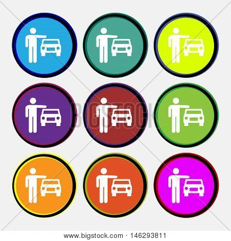 Person Up Hailing A Taxi Icon Sign. Nine Multi Colored Round Buttons. Vector