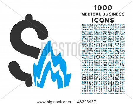 Fire Disaster vector bicolor icon with 1000 medical business icons. Set style is flat pictograms blue and gray colors white background.