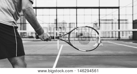 Tennis Players Competitor Training Concept