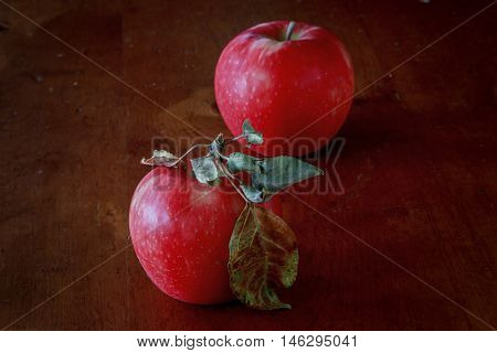 Red, ripe Honey Crisp apples with moody lighting.
