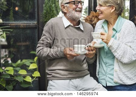 Afternoon Tea Leisure Casual Elderly Older Concept