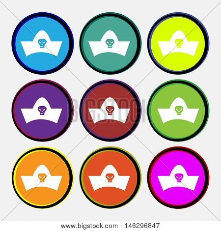 Black Pirate Hat With Skull And Crossbones Icon Sign. Nine Multi Colored Round Buttons. Vector