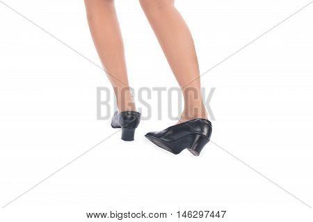 Ankle sprain while walking on white background