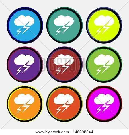 Weather Icon Sign. Nine Multi Colored Round Buttons. Vector