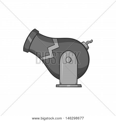 Circus cannon icon in black monochrome style isolated on white background. Entertainment symbol vector illustration