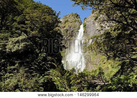 Devils Punchbowl Waterfall in Arthurs Pass National Park Southern Alps, New Zealand