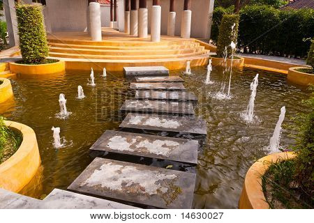 Stone Way On Water With Fountain