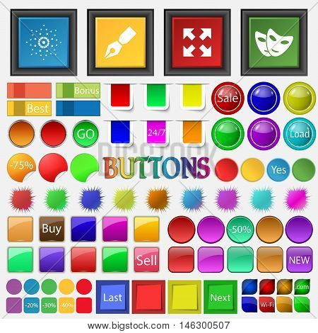 Star Handle, Rotate The Screen Mask Icon. Big Set Buttons For Your Site. Vector