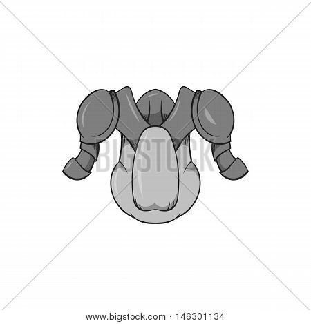 Hockey armor icon in black monochrome style isolated on white background. Sport symbol vector illustration