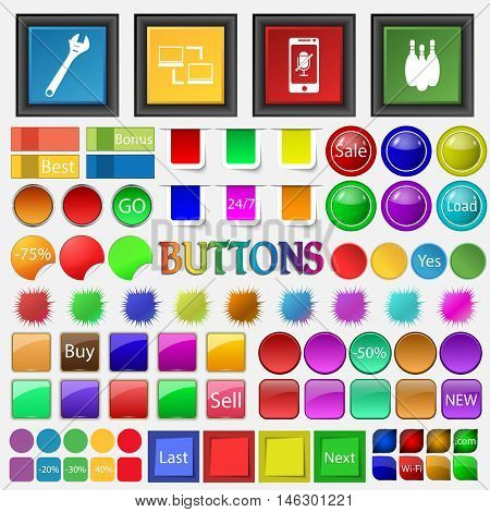 Adjustable Wrench , Synchronization , Phone, Bowling, Skittles Icon. Big Set Buttons For Your Site.