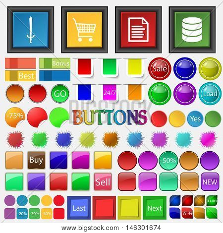 Sword , Shopping Cart, A Text Document , A Hard Disk , Server Icon. Big Set Buttons For Your Site. V