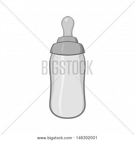 Bottle feeding icon in black monochrome style isolated on white background. Children care symbol vector illustration