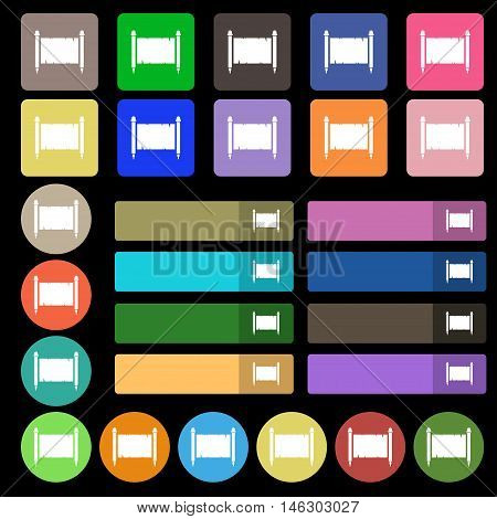 Ancient Parchment Sheet Of Paper Sign. Set From Twenty Seven Multicolored Flat Buttons. Vector