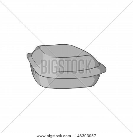 Food container icon in black monochrome style isolated on white background. Food storage symbol vector illustration