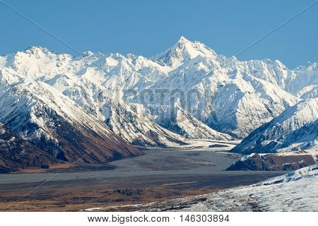 Mount D'Archiac and the Southern Alps Above The Rangitata River  Hakatere Conservation Park, New Zealand