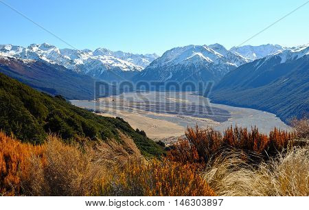 The Snowy Crest of The Southern Alps  Bealey Spur, Arthurs Pass, New Zealand