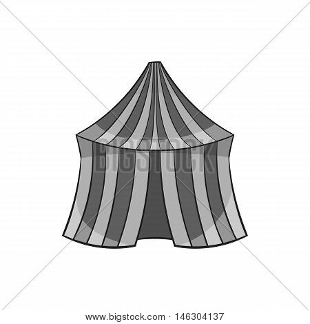 Circus tent icon in black monochrome style isolated on white background. Entertainment symbol vector illustration