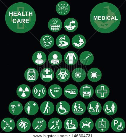 Green Medical and health care related pyramid icon collection isolated on black background