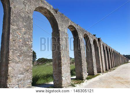 Ancient Usseira Aqueduct Obidos Portugal. Aqueduct created in 1575.