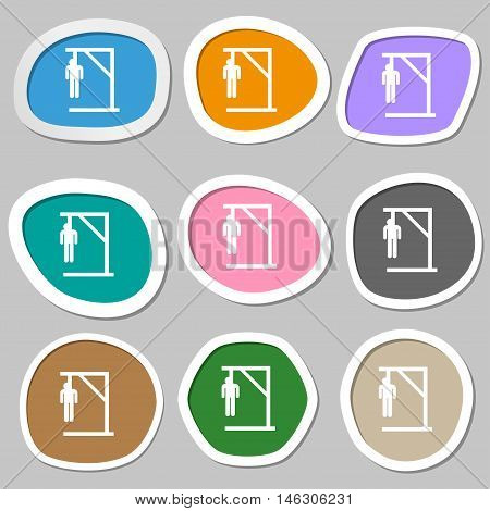 Suicide Concept Icon Symbols. Multicolored Paper Stickers. Vector