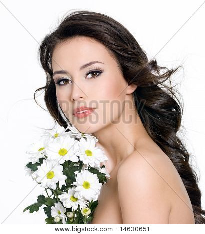 Beautiful Woman With  Bouquet Of Flowers