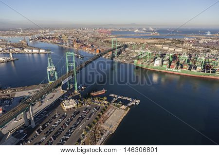Los Angeles, California, USA - August 16, 2016:  Aerial view of the Vincent Thomas Bridge in the Port of Los Angeles.