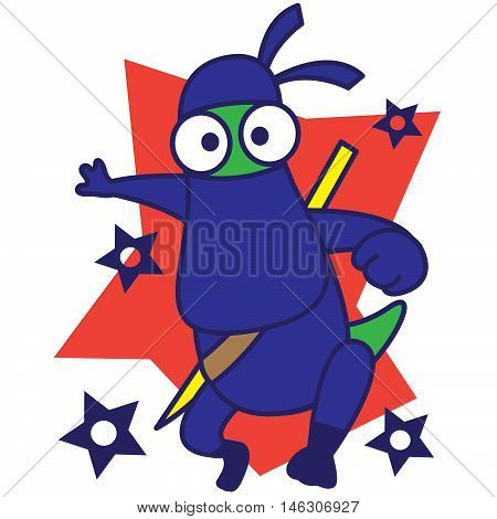 Ninja Dinosaur vector art illustration Tshirt design