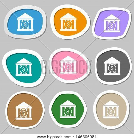 Bank Vector Icon Symbols. Multicolored Paper Stickers. Vector