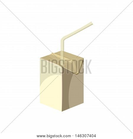 Juice or milk box with drinking straw in cartoon style isolated on white background vector illustration