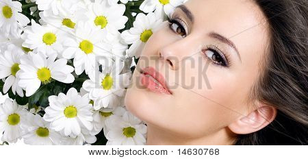Sexy Beautiful Girl With Flowers