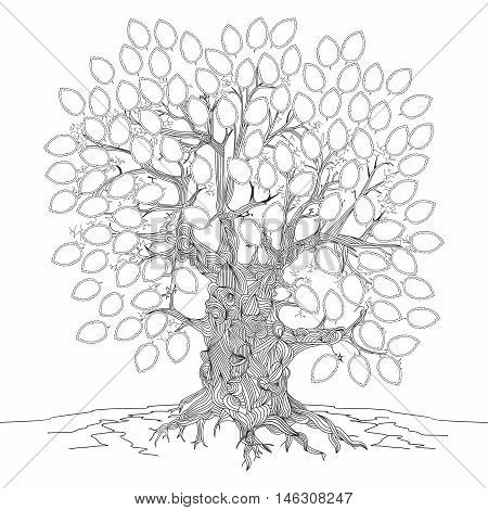 Vector monochrome outline illustration of extremely old and sacred tree background