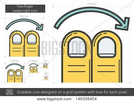 Two-finger swipe right vector line icon isolated on white background. Two-finger swipe right line icon for infographic, website or app. Scalable icon designed on a grid system.