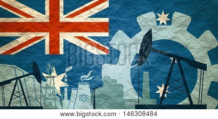 Energy and Power icons set with Australia flag. Sustainable energy generation and heavy industry. Textured by concrete