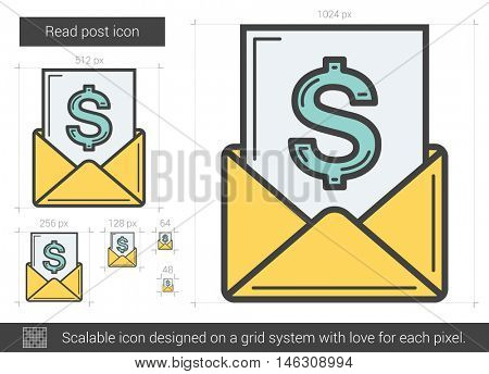 Read post vector line icon isolated on white background. Read post line icon for infographic, website or app. Scalable icon designed on a grid system.