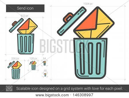 Email delete vector line icon isolated on white background. Email delete line icon for infographic, website or app. Scalable icon designed on a grid system.