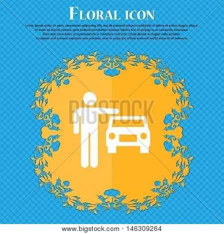Person Up Hailing A Taxi Icon Icon. Floral Flat Design On A Blue Abstract Background With Place For