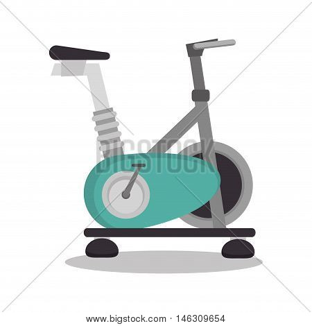 cartoon stationary bicycle sport elements design vector illustration eps 10
