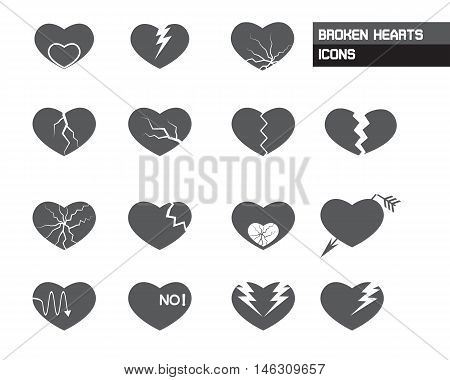 Broken Hearts and Bad Valentines Icons Vector