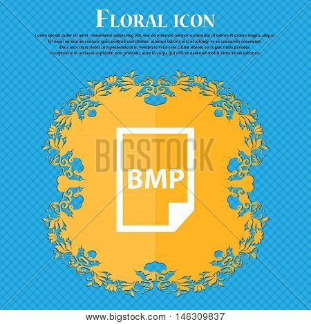 Bmp Icon Icon. Floral Flat Design On A Blue Abstract Background With Place For Your Text. Vector