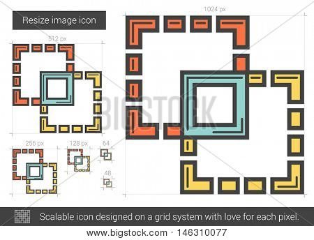 Resize image vector line icon isolated on white background. Resize image line icon for infographic, website or app. Scalable icon designed on a grid system.