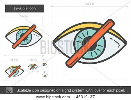 Invisible vector line icon isolated on white background. Invisible line icon for infographic, website or app. Scalable icon designed on a grid system.