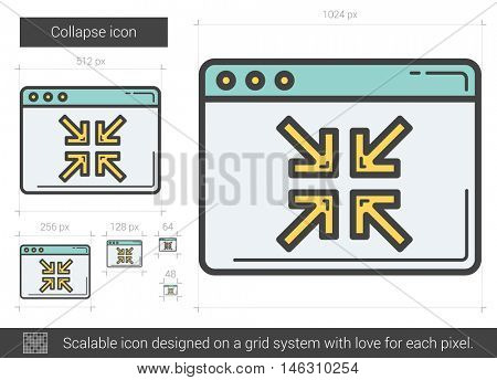 Collapse vector line icon isolated on white background. Collapse line icon for infographic, website or app. Scalable icon designed on a grid system.