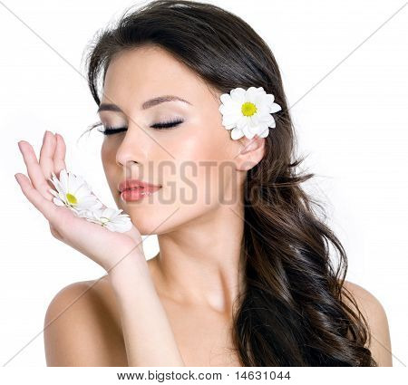 Face Of Woman With Flowers